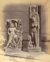 Sculptures in the public garden at Narsimhapur: Nrsimhavatara and female Jain figure